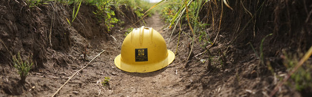 Hard Hat on trail